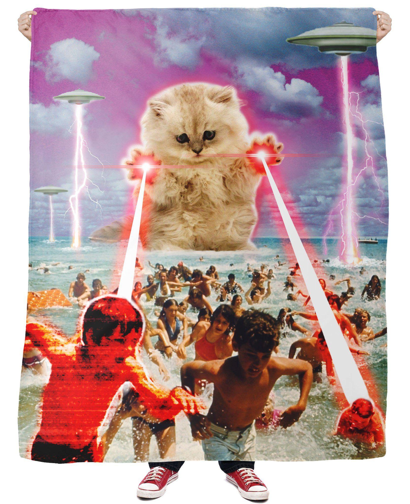 The Kitten No One Loved Fleece Blanket Cat Art Collage Art Space Cat