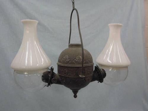 Antique angle mfg double burner oil kerosene hanging lamp socr923 ebay sold