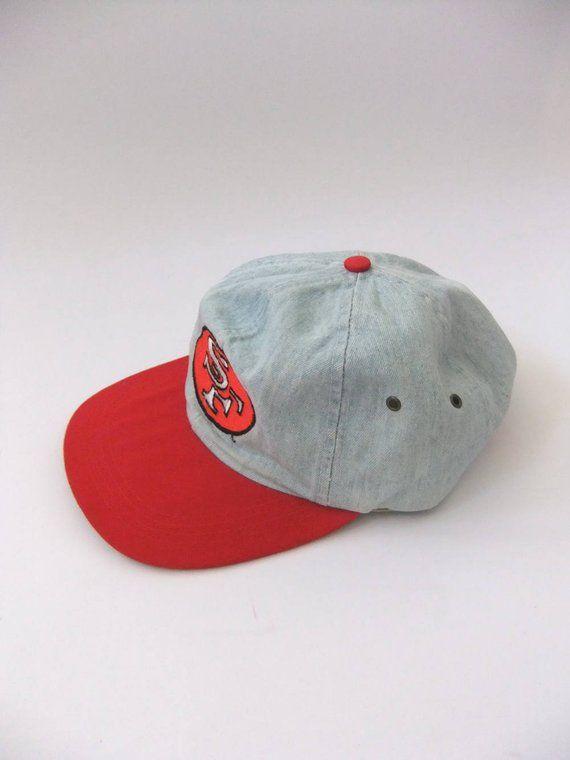 905556911f88c SF Niners Denim Strapback Dad Hat - San Francisco 49ers Jean Soft Top Cap -  90s Vintage NFL Football