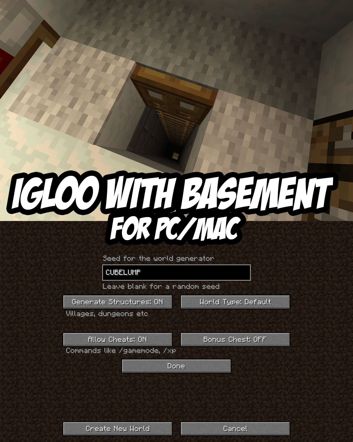 Igloo With Basement Seed For Pc Mac Cubelump Minecraft Seeds Pc