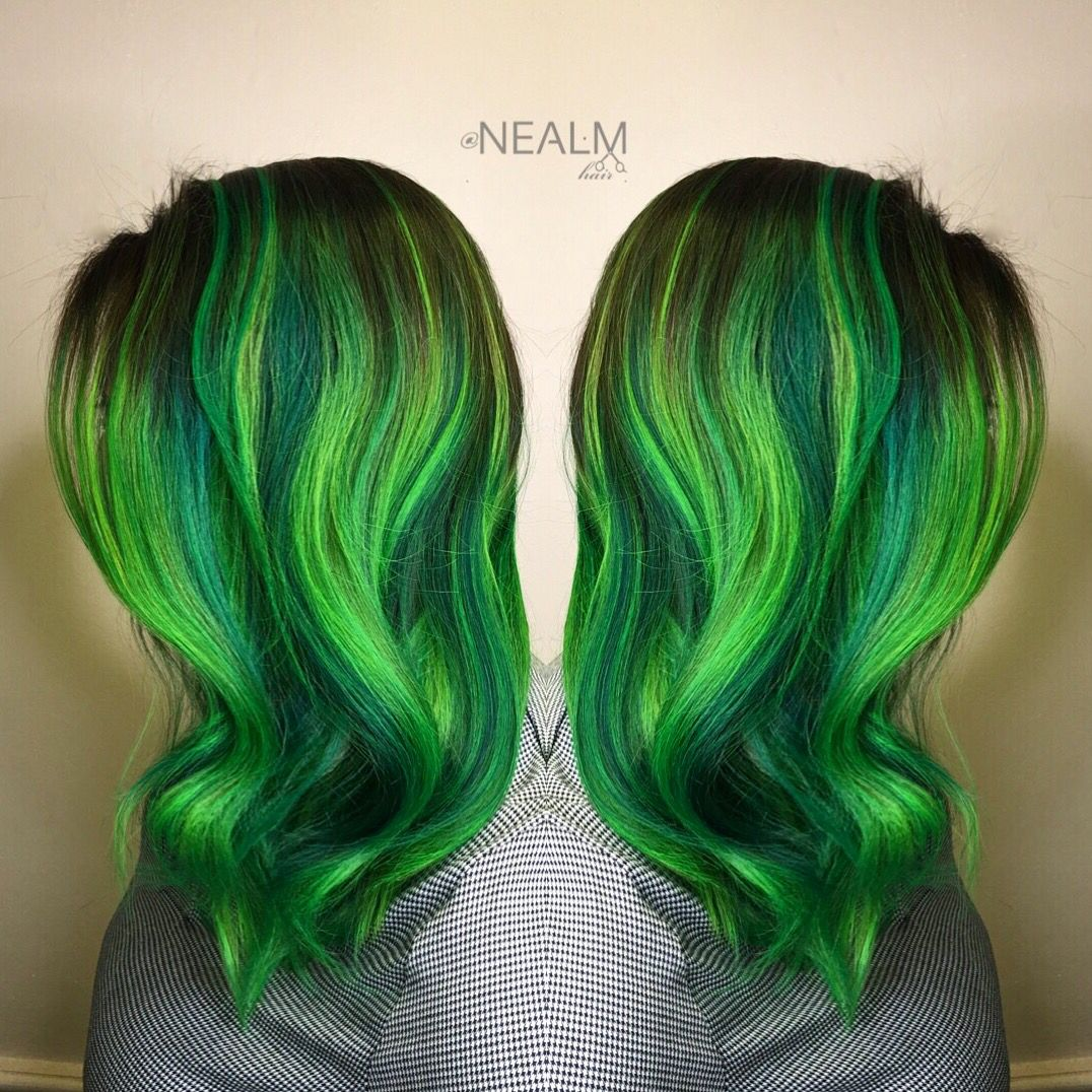 Neon green emerald green hair rainbow hair mermaid hair