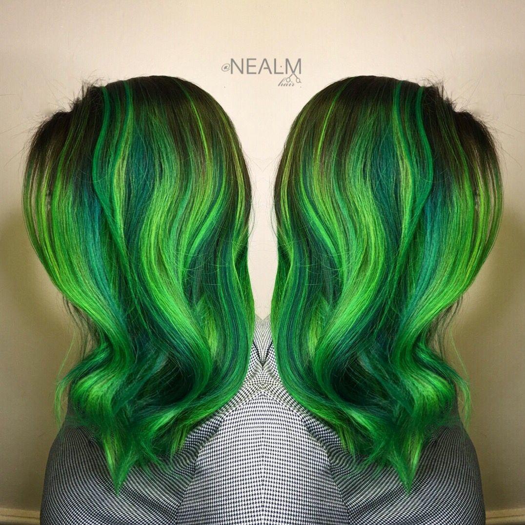 neon green emerald hair rainbow