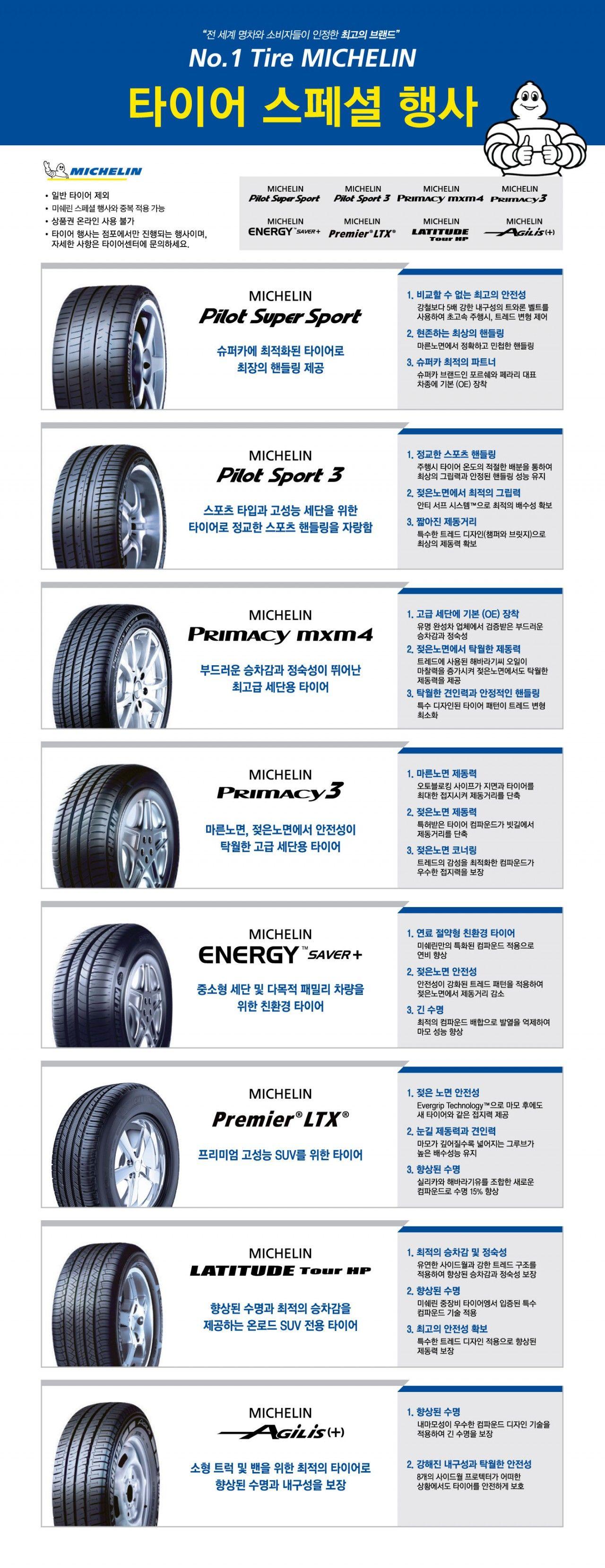 미쉐린타이어 스페셜행사 링크이미지작업 타이어의 종류와 특성을 간단히 정리한 페이지