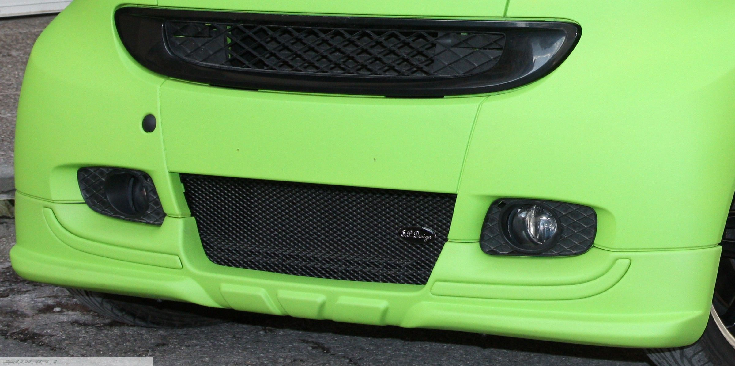 Front Spoiler Smart Fortwo 451 in green color by Smart Power Design ...