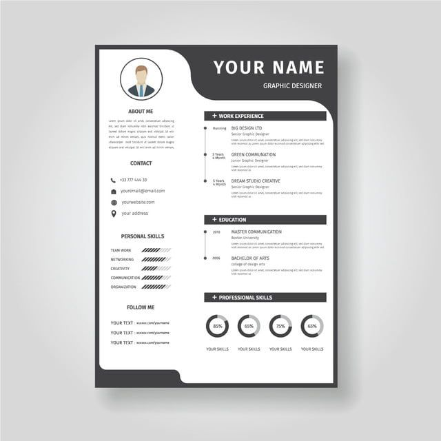creative resume template cv displaying your profile vector