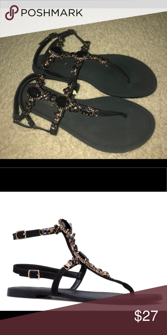 f0e3cf55030 Black Jeweled Sandals Never worn New Shoe Dazzle Shoes Sandals   My ...