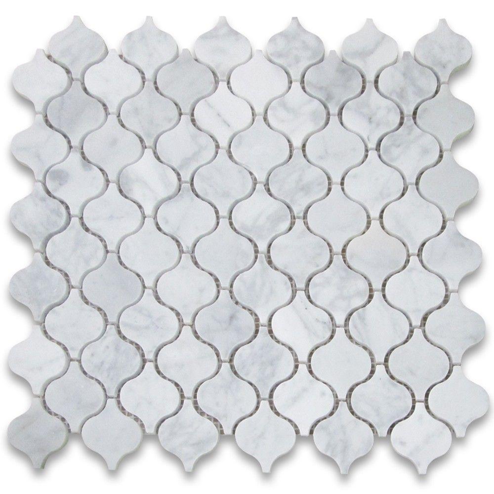 Carrara White Mini Lantern Shaped Arabesque Baroque Mosaic Tile