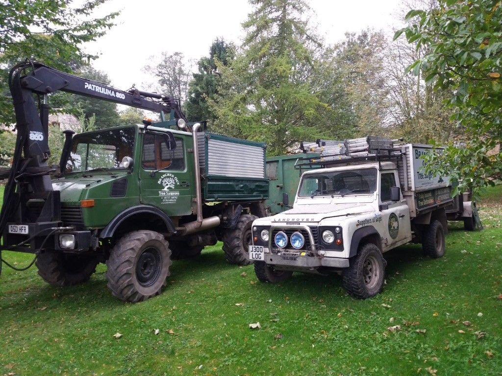 Mercedes Unimog U1000 And Landrover Defender Tree Service Vehicles