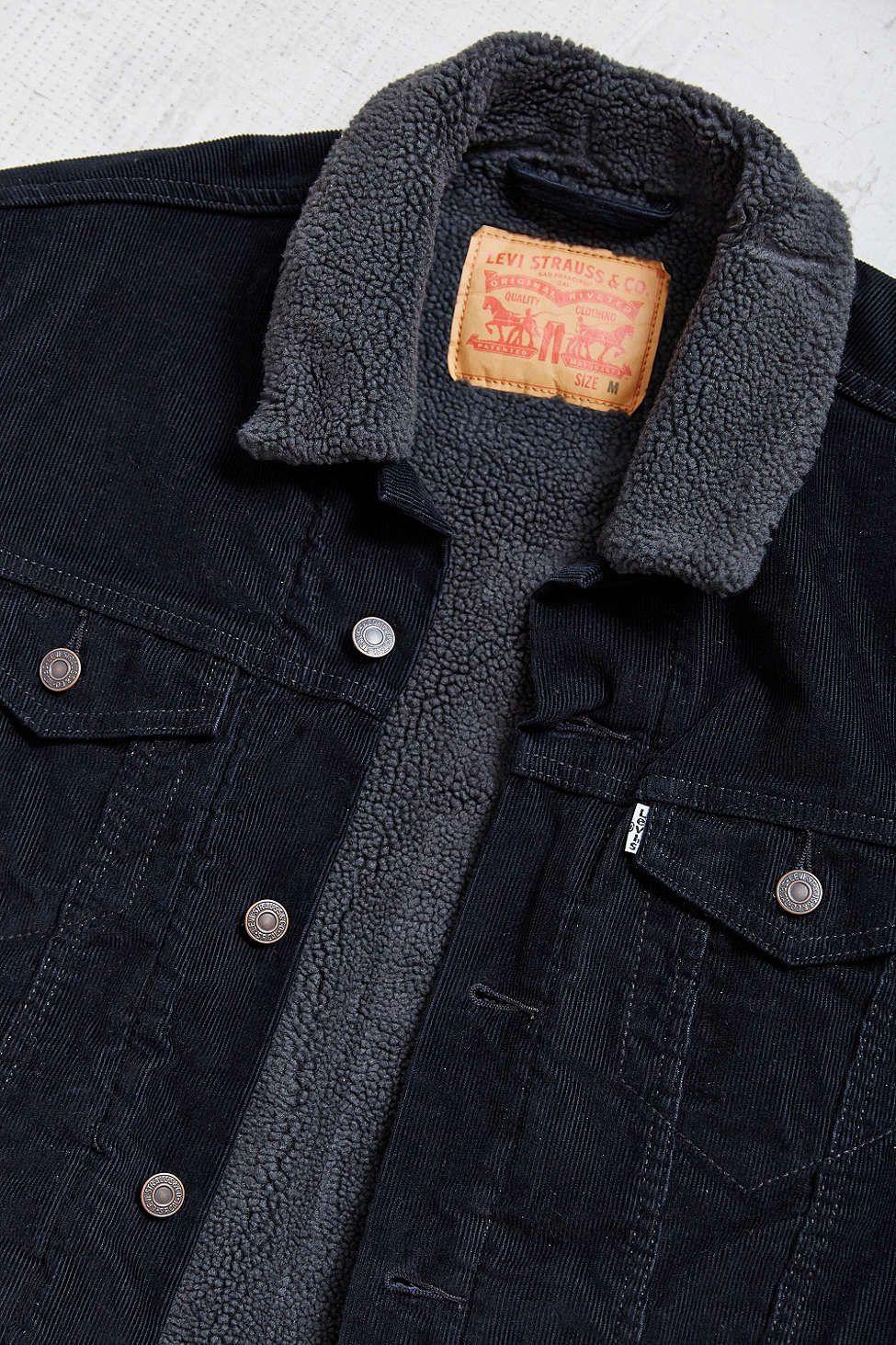 Levi s Black Corduroy Sherpa Trucker Jacket   My Style   Jackets ... ba7de1461e5b