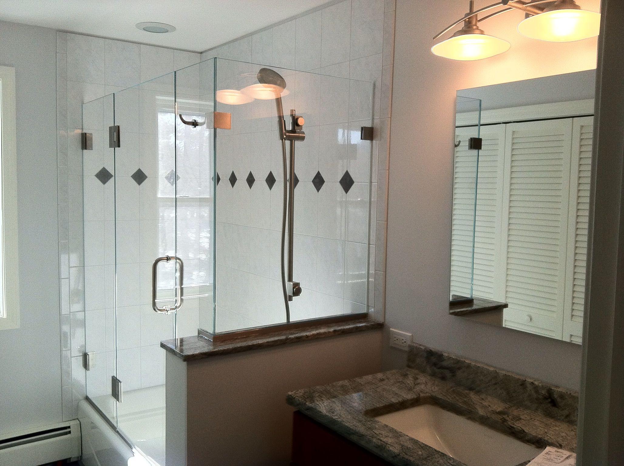 Shower Head Mounted Through Glass Glass Shower Tub Luxury