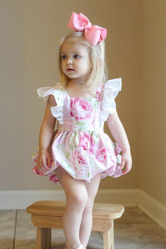 6855337d58eb Girls Pink Floral Romper - Ruffle Romper - Pink Bubble Romper - Girls  Bodysuit - Toddler Romper - Ba