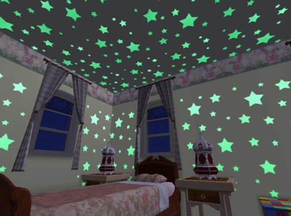 24 glow glowing dark plastic stars stickers baby kids ceiling wall room nursery