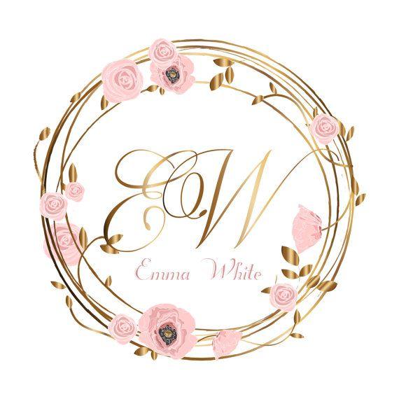 Photo of DIGITAL Wreath flowers logo, Custom Logo , flower wreath Logo watermark, pink flowers logo design, roses logo, flowers logo, wreath logo,