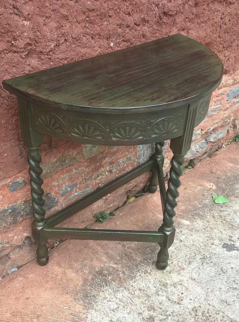 Vintage Oak Hall Table / Carved Oak Demi Lune Table