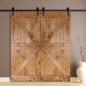 CCJH 6FT Black Heart Shape Sliding Roller Barn Double Wood Door Hardware Closet Track Kit Set: Amazon.co.uk: DIY & Tools