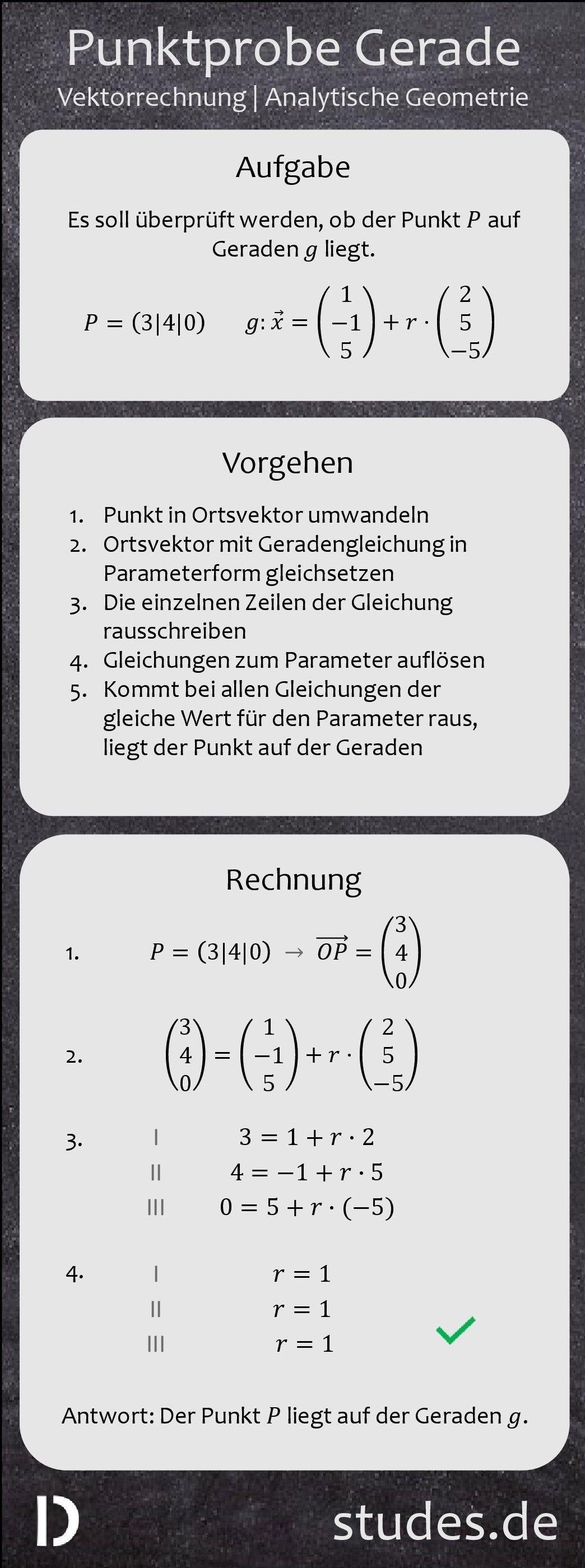 #Punktprobe #Gerade: Um zu überprüfen, ob ein #Punkt auf ...