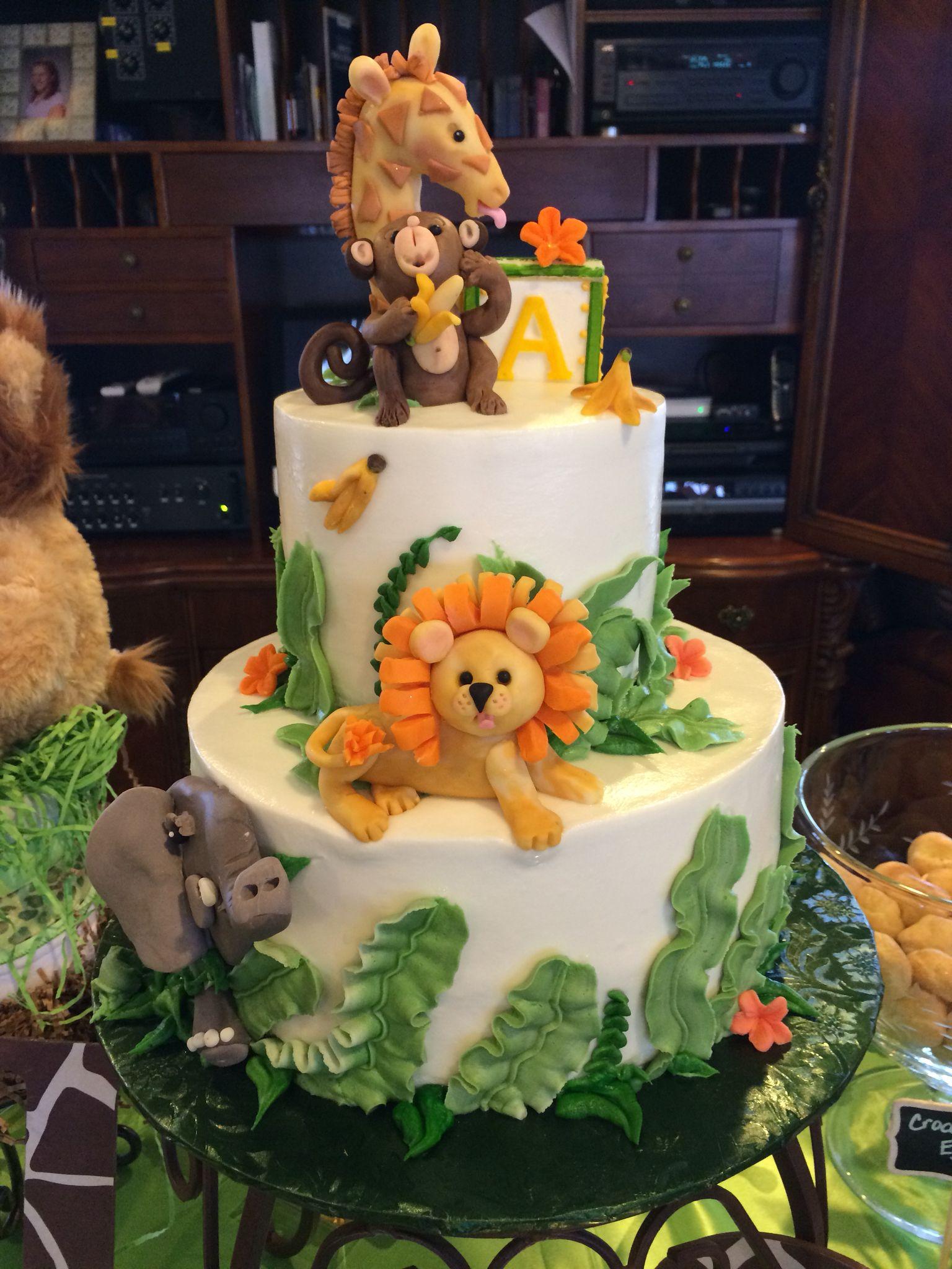 Baby Shower Jungle Themed Buttercream Icing Cake Jungle Birthday