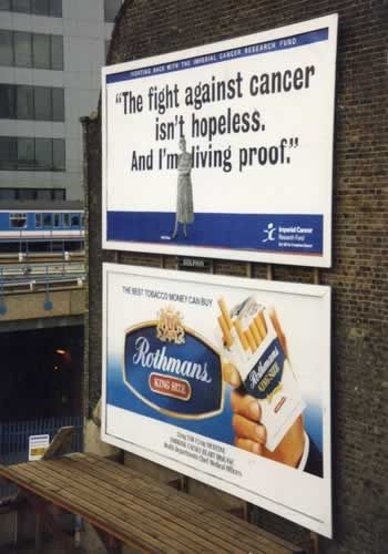 Ad above: the fight against cancer isnt hopeless Ad Below: Cigrate Ad