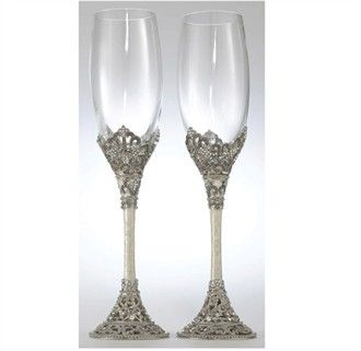 Hand Enameled Swarovski Crystal Champagne Gles
