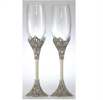 Hand Enameled Swarovski Crystal Champagne Gles Weddingwedding Toasting