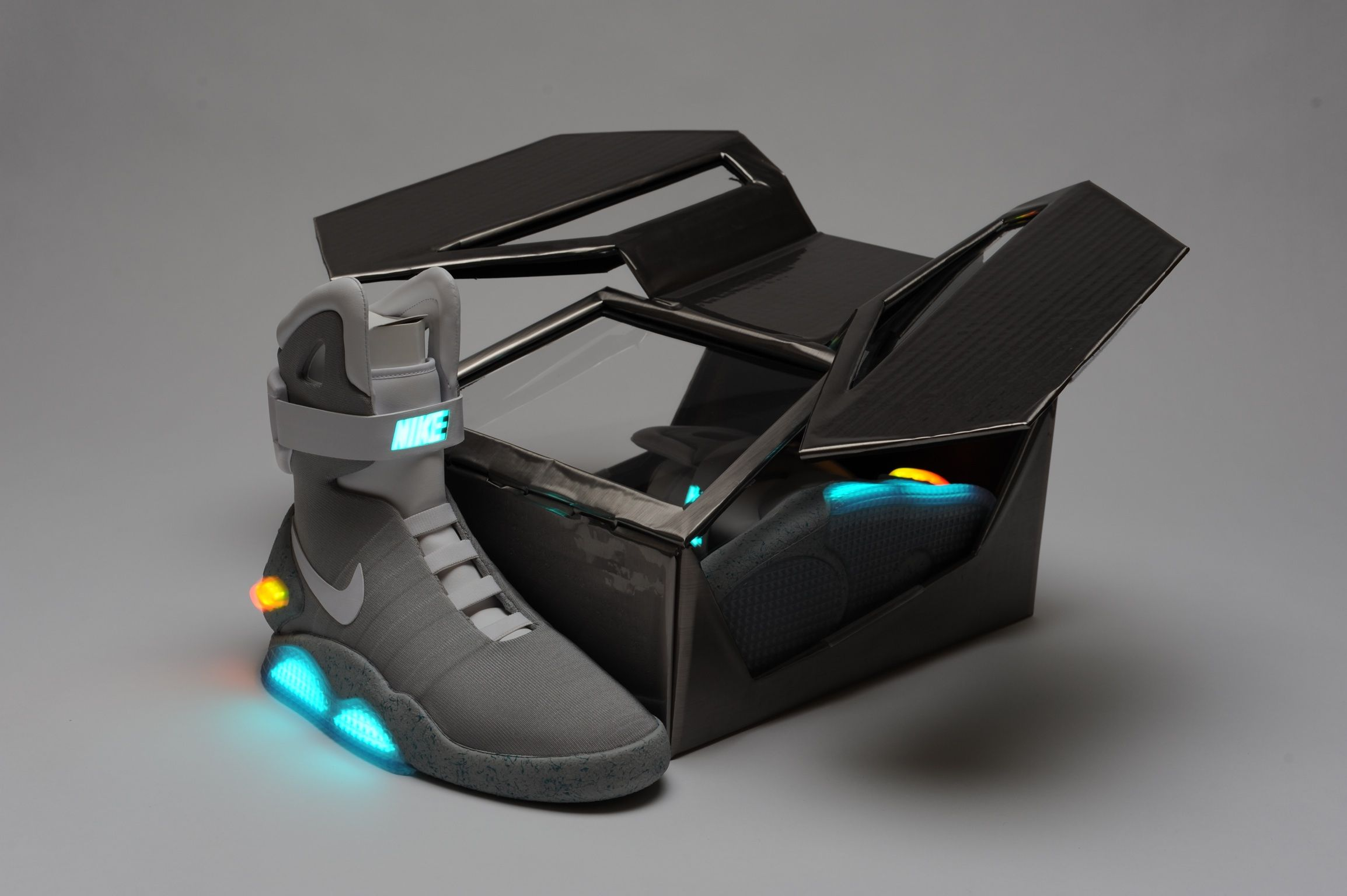 A custom box designed for the Nike Mag shoes or the Back to