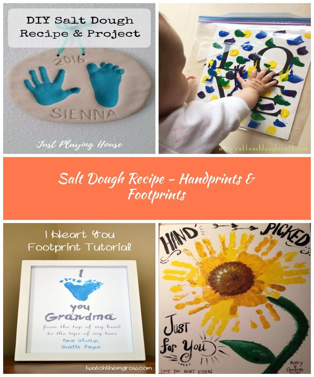 Salt Dough Recipe - DIY Handprint Project - Baby - Kids Craft #baby crafts Salt Dough Recipe - Handprints & Footprints #saltdoughrecipe