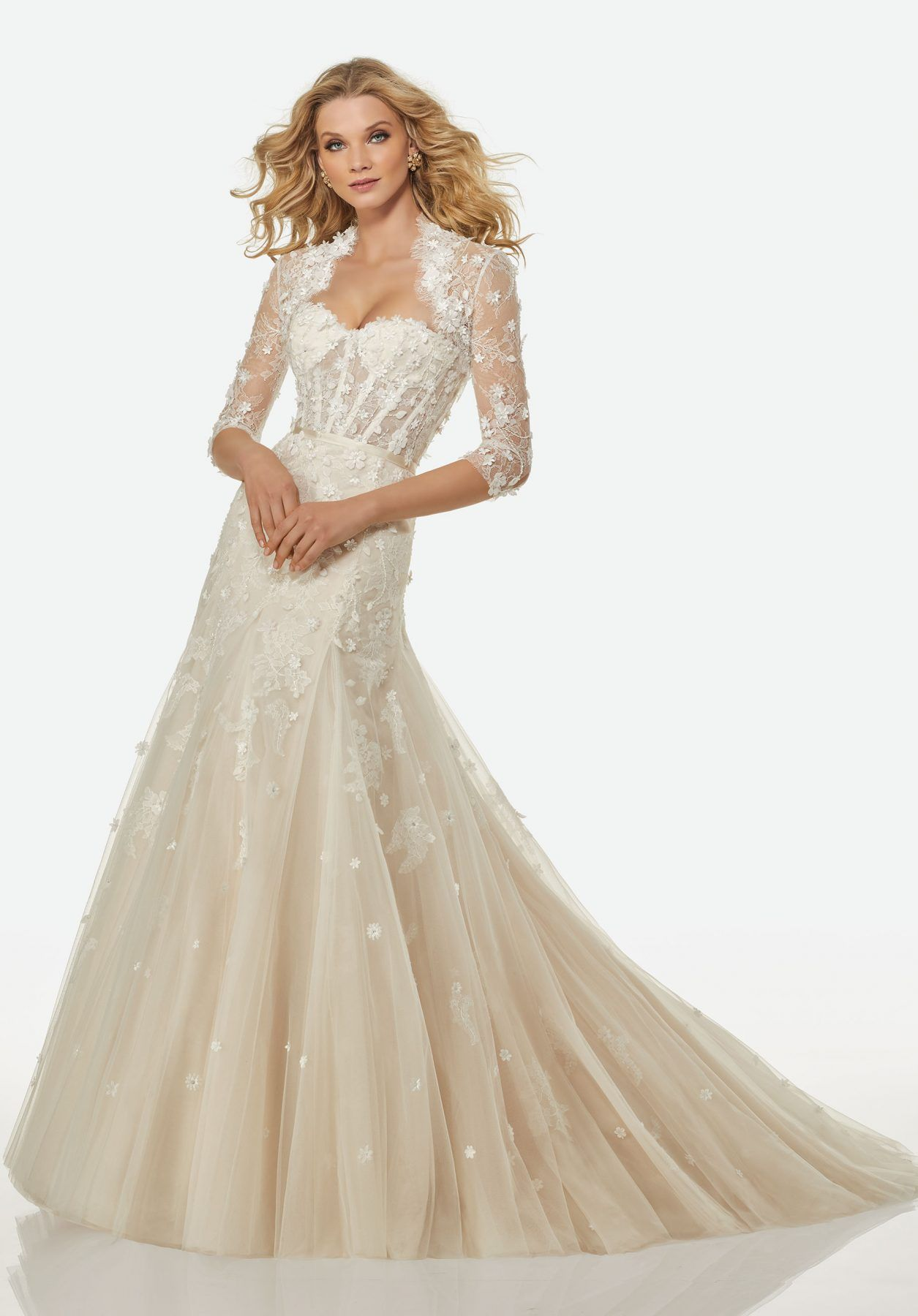 """Linda"" Dress has beaded flowers and lace appliqués on a"