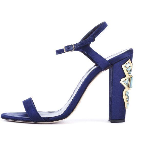 Oscar de la Renta Marine Blue Satin Lemmy Sandals With Embellished... ($890) ❤ liked on Polyvore featuring shoes, sandals, blue, jewel sandals, high heel shoes, blue high heel sandals, blue high heel shoes and ankle tie sandals