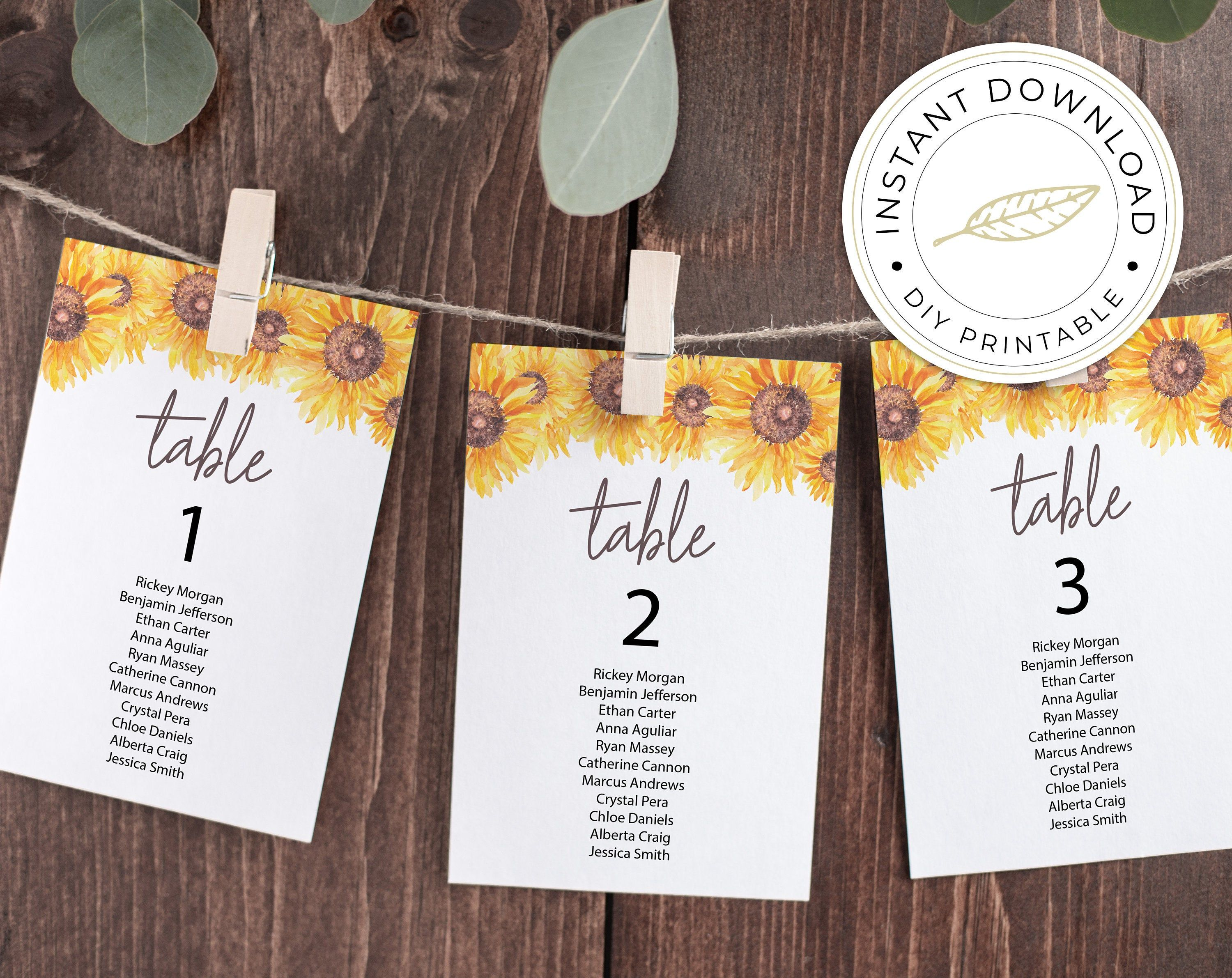 Sunflower Seating Chart Cards Template Printable Instant Etsy Card Templates Printable Card Template Cards