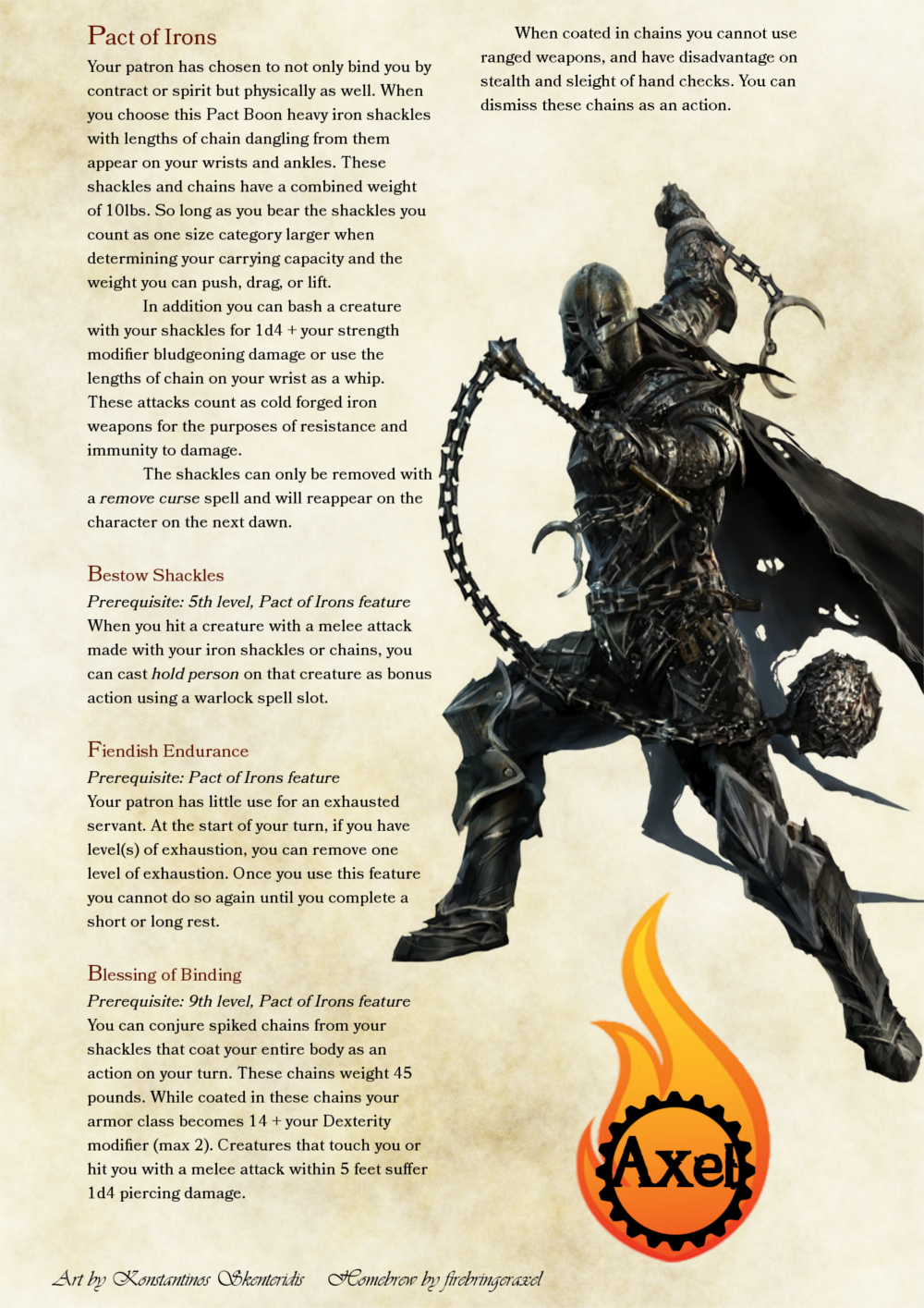 Pact Of Irons. A Warlock Pact That Grants One The Blessing Of Servitude Mor…