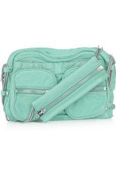 ALEXANDER WANG. Brenda chain-trimmed leather shoulder bag. In Aqua!  $725