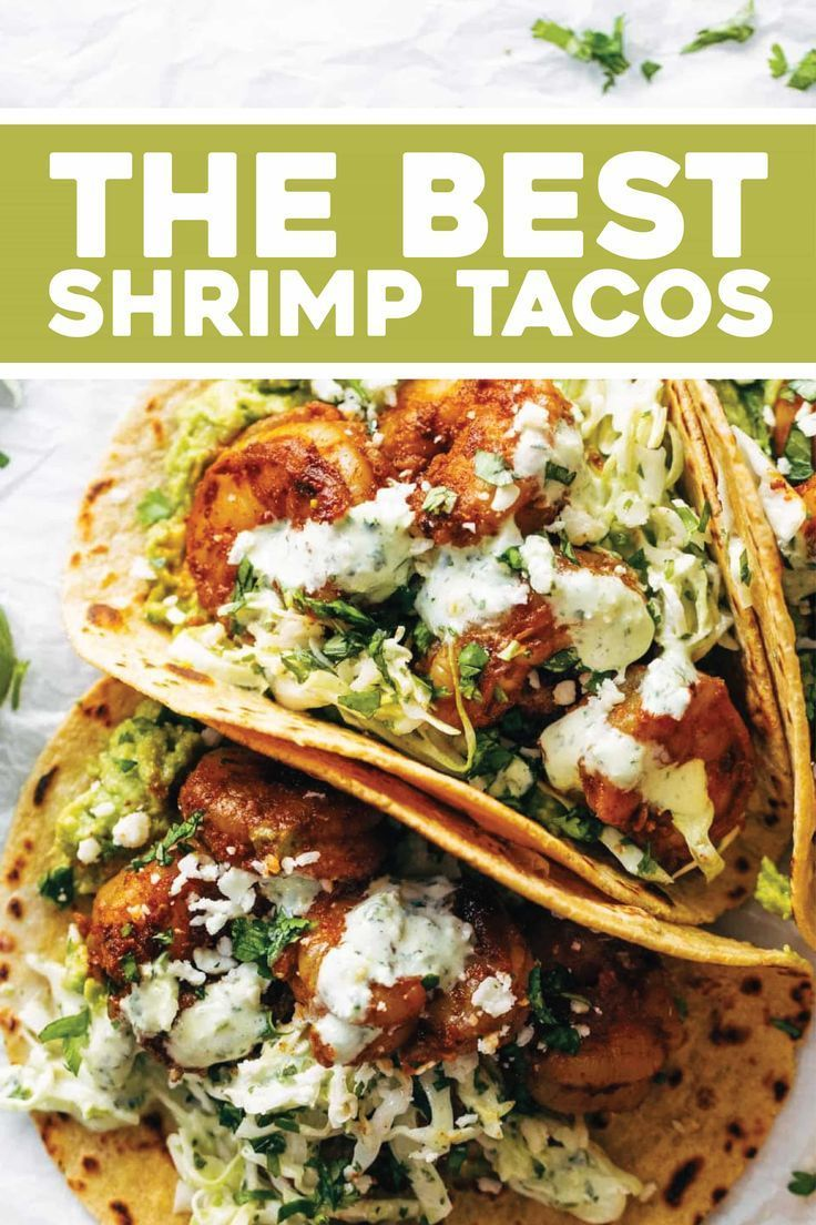 Spicy Shrimp Tacos with Garlic Cilantro Lime Slaw - Pinch of Yum