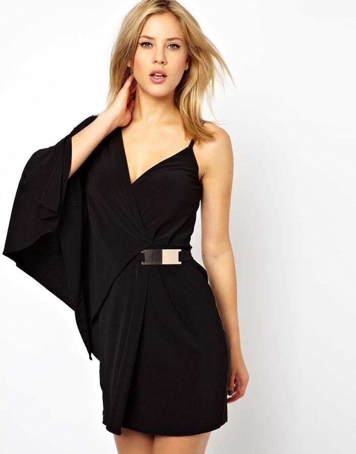 85ec0678ff9a Asos Bar Belt Kimono Wrap Dress on shopstyle.com One Shoulder, Shoulder  Dress,