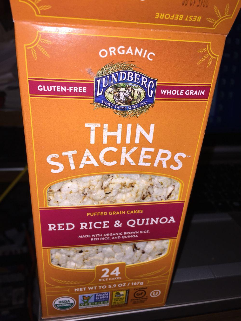 Lundburg thin stackers red rice quinoa puffed grain
