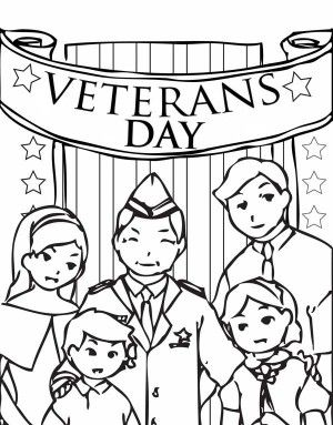 The Stars and Stripes on Cemetary Veterans Day Coloring Page Free
