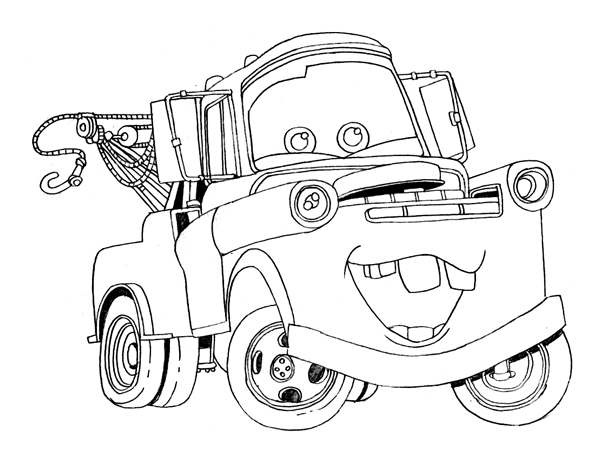 Printable Disney Cars Tow Mater Coloring Pages