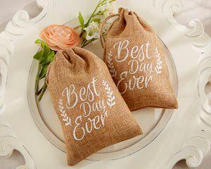 """Best Day Ever"" Burlap Favor Bags (Set of 12)"