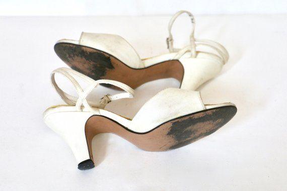 65052406ec926 Peeptoe Heels Vintage 1950s White Shoes 50s Wedding Shoes Vintage ...