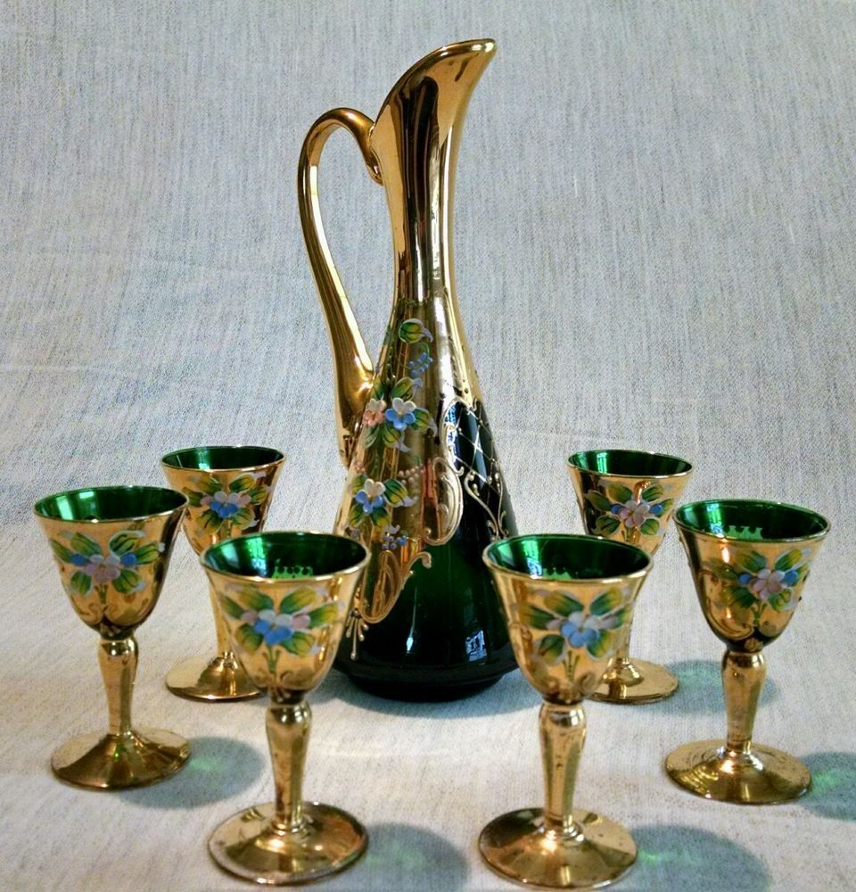Vintage murano hand painted gold gild emerald glass wine cordial vintage murano hand painted gold gild emerald glass wine cordial decanter set reviewsmspy