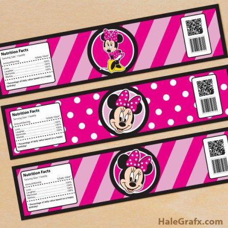 Printable Minnie Mouse Juice Pouch Labels Minnie Mouse Juice Labels Minnie Mouse Birthday Party Minnie Mouse Printable party supplies FTB1