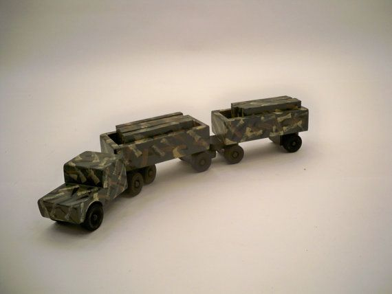 Toy Green Camo Tractor Trailer With Cago A Wood Toy  A Kids Toy A Wood Tractor Trailer