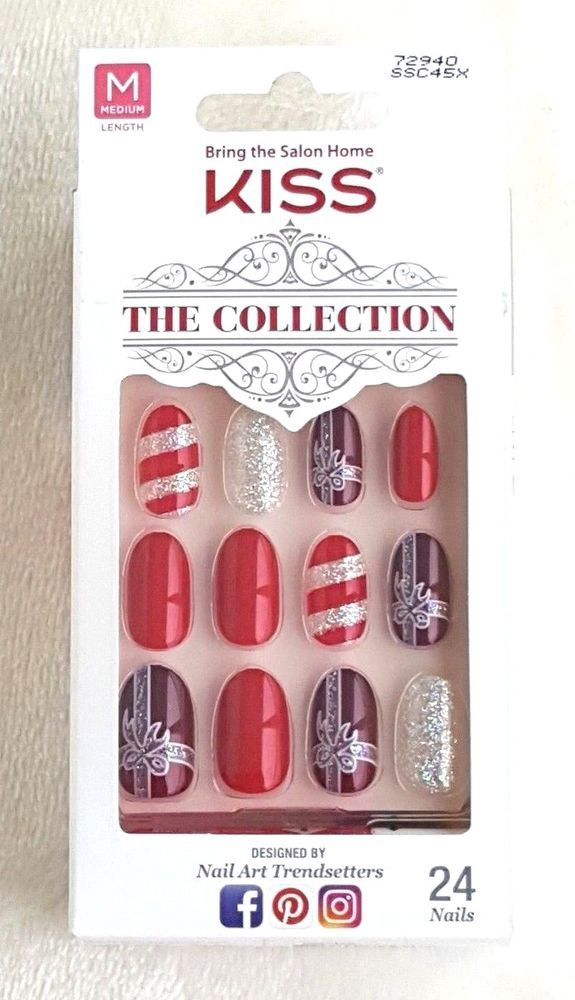 KISS The Collection 24 Glue-On Nails MEDIUM #72940 | Pinterest ...
