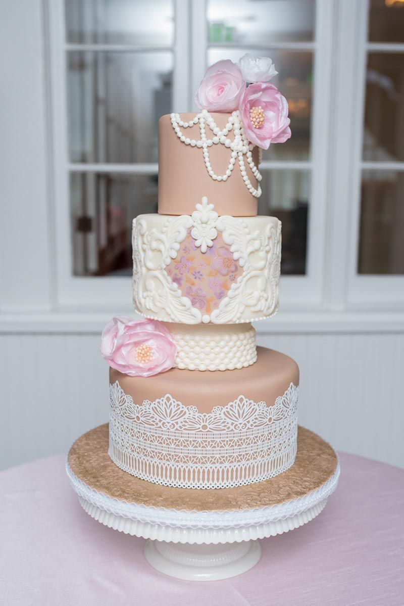 wedding cake by couture cakes by lia rose quartz ballet