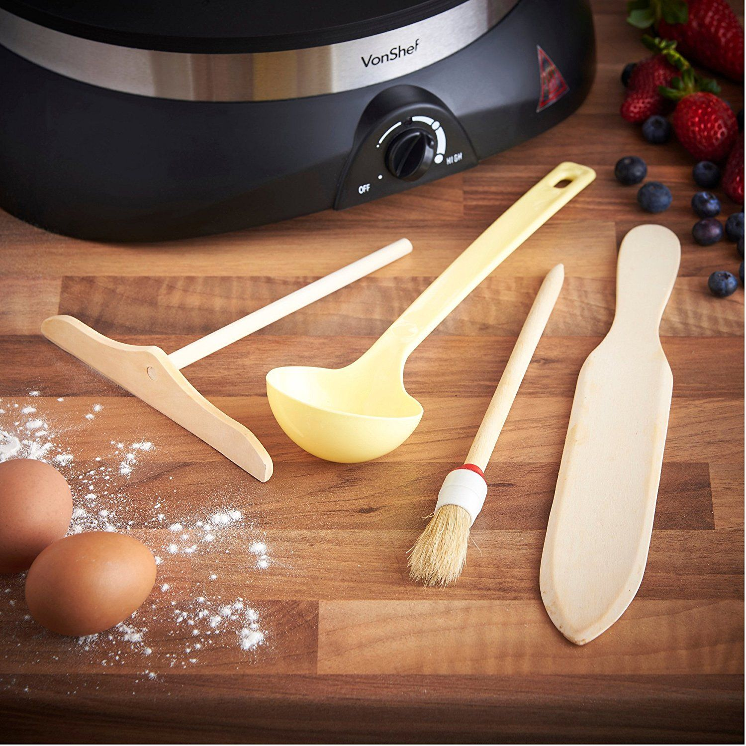 VonShef Professional High Quality Electric Crepe and Pancake Maker, Free 2 Year Warranty + Free Batter Spreader, Oil Brush, Wooden Spatula & Ladle: Amazon.co.uk: Kitchen & Home