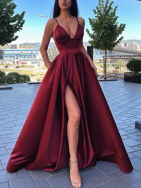 Spaghetti Straps V-neck Long Burgundy Prom Dresses With Split, PD0114 Spaghetti Straps V-neck Long Burgundy Prom Dresses With Split, PD0114