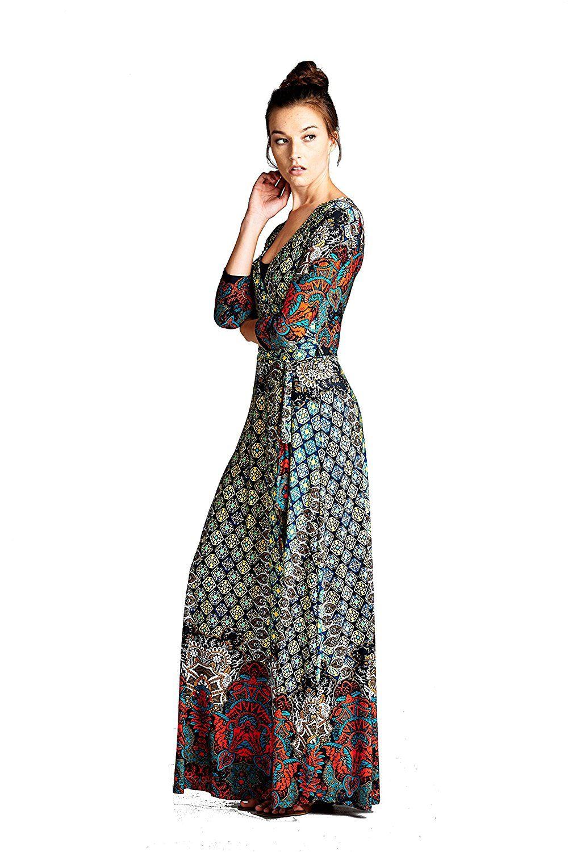 On trend womenus paris bohemian sleeve faux wrap long maxi