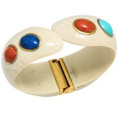 1960s Lapis Coral Turquoise Gold Cuff Bracelet