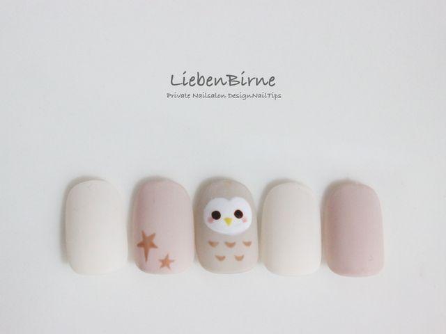 再販×18☆幸福を呼び込むメンフクロウのネイル | Manicure, Nail nail ...