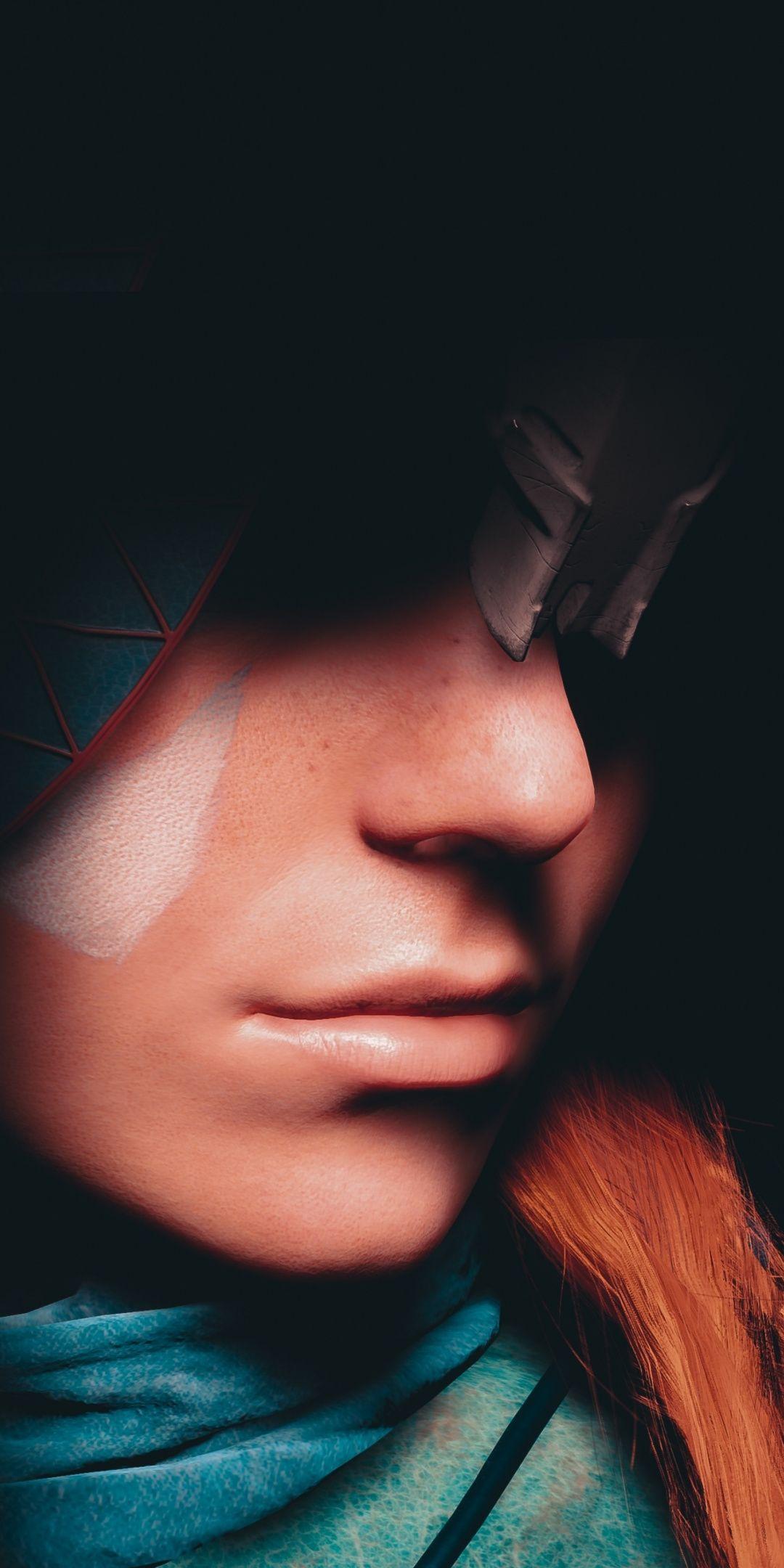 Aloy, Face, Horizon Zero Dawn, 1080x2160 wallpaper