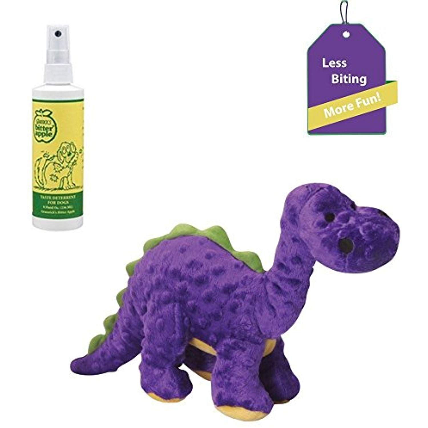 Bitter Apple Spray for Dogs Tough Dog Chew Toy purple dino Dog